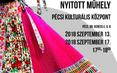 Nyitott műhely (2018. szeptember 13. és szeptember 18. 17.00-18.00 óra)